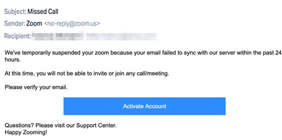 zoom phishing screenshot