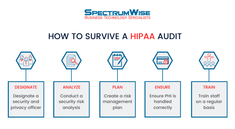 steps in HIPAA compliance audit checklist infographic