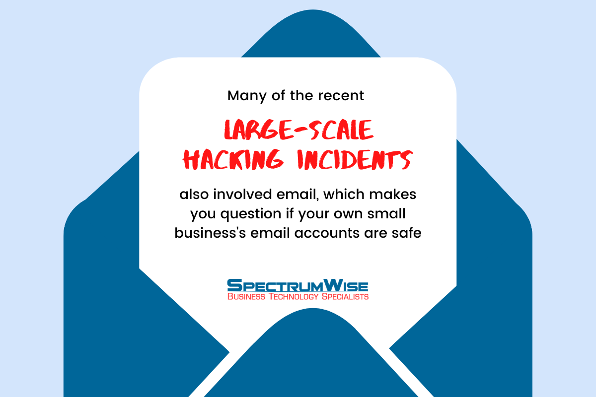 Many of the recent large-scale hacking incidents also involved email, which makes you question if your own small business's email accounts are safe