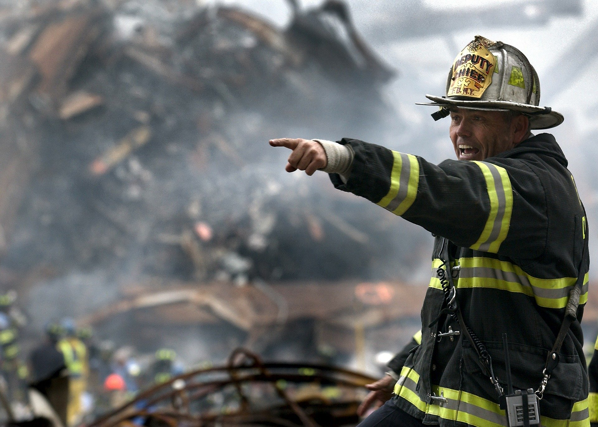 fire man in the center of disaster relief
