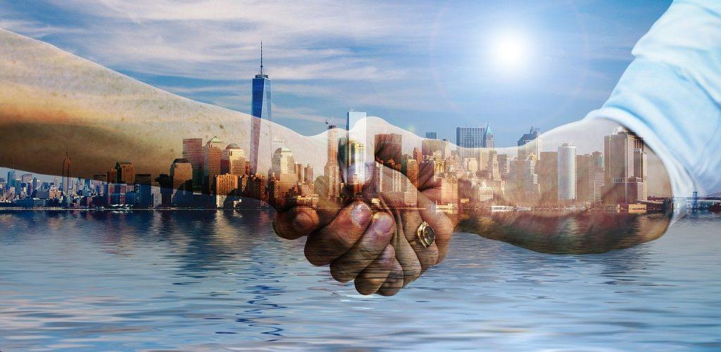 city partner client deal handshake