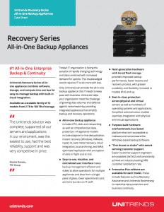 Recovery Series Appliance Datasheet