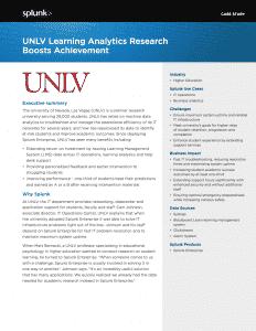 Splunk – UNLV Learning Analytics Research Boosts Achievement