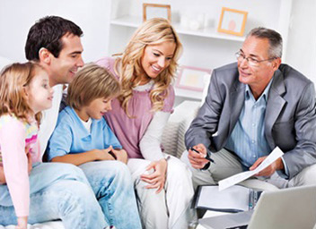A knowledgeable professional is advising a family on estate planning and evaluations.