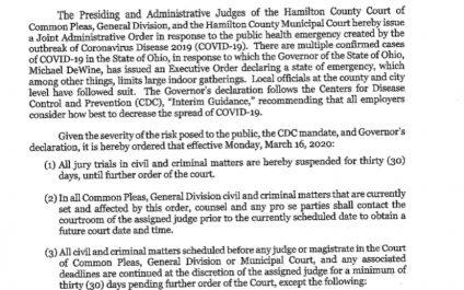 COVID-19 Closes Hamilton County Ohio Court