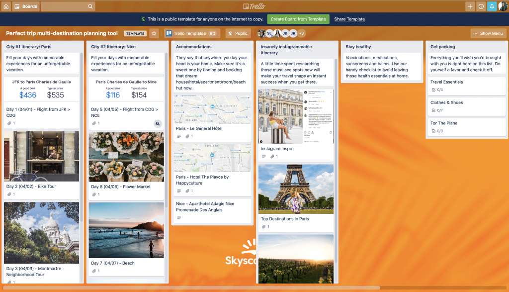 Trello Travel Planning Screenshot