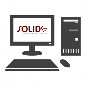 desktop computer with solid technology solutions logo