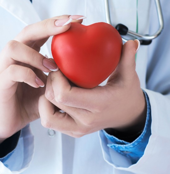 Doctor's hand holding a heart