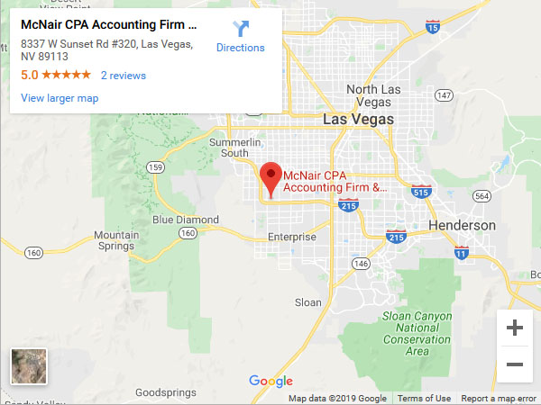 Address -McNair CPA Firm 8337 W Sunset Rd #320 Las Vegas, NV 89113