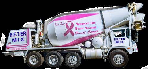 A B.E.T.-ER MIX's concrete mixer truck