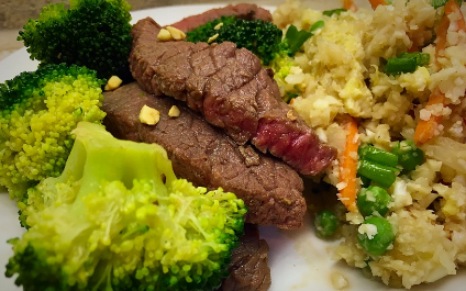 Healthy Beef & Broccoli with a side of Cauliflower Fried Rice