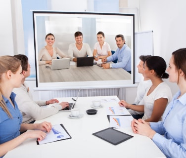 video conference in a meeting rooom
