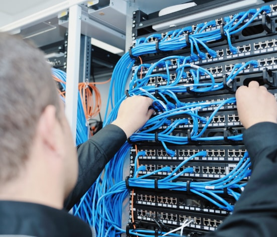 a man fixing cable system