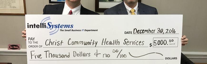 IntelliSystems Presents $5000 Donation To Christ Community Health Services Of Augusta