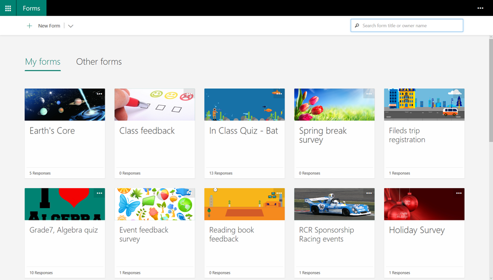 Image shows an updated Forms portal page, displaying snapshots of each form and the new search box.