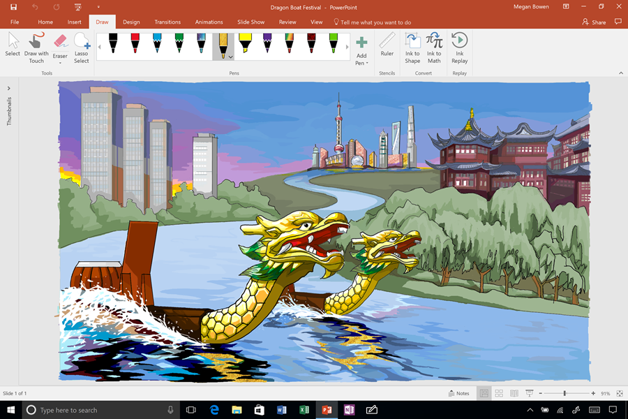 A drawing is being shown in PowerPoint with pencil texture and ink effects used to color in the images.