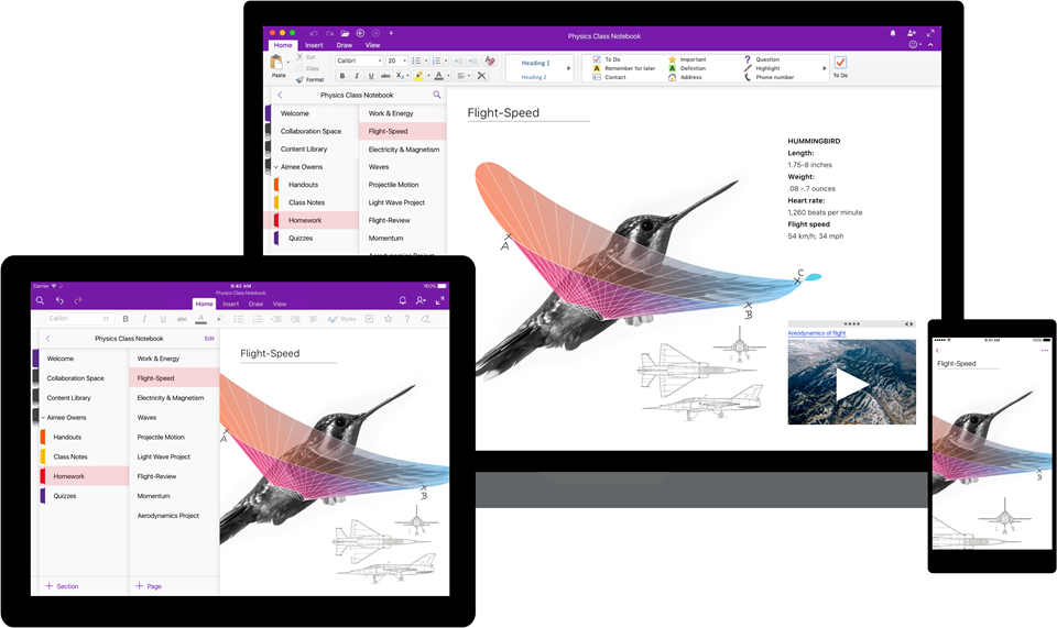 Image of OneNote across three different devices: Computer, tablet and phone. Screen shows that OneNote is a consistent experience and available across multiple devices.