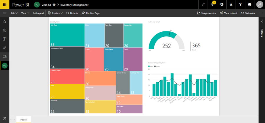 Visualization of Contoso inventory with the Visio tree map displayed on the left and the Power BI data summary on the right.