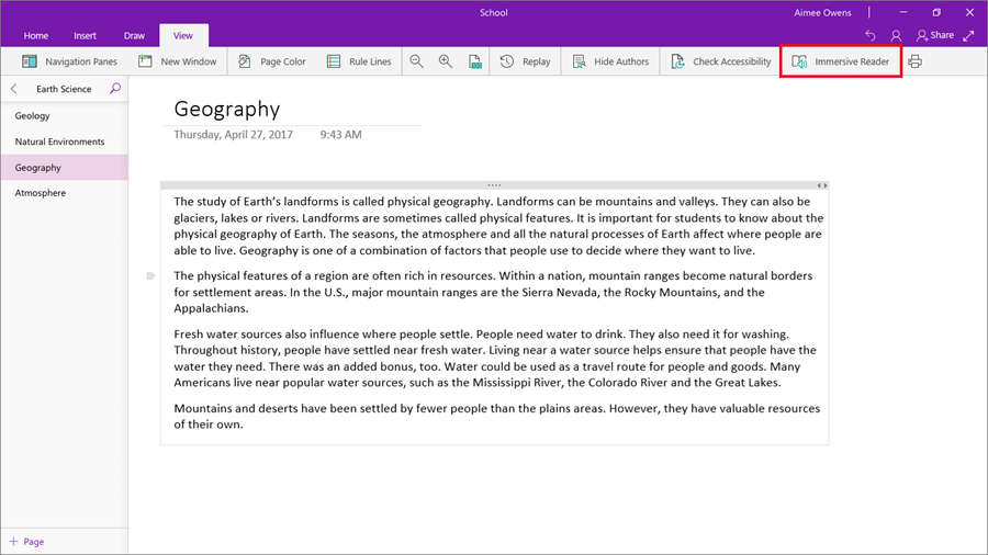 In the OneNote for Windows 10 app, a red square highlights the Immersive Reader button located under the View menu.