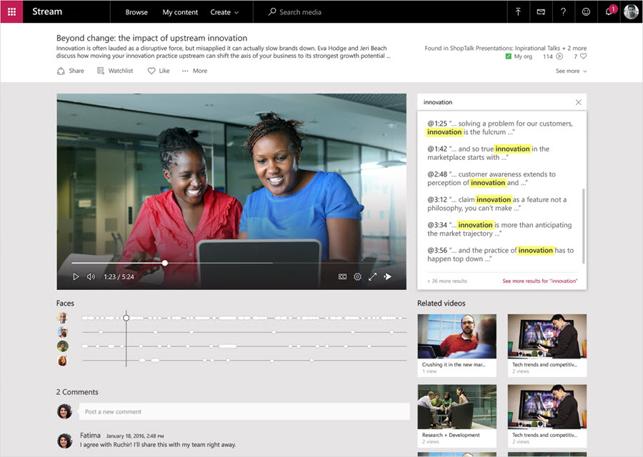 Intelligence features in Microsoft Stream are being shown. A video is shown playing, and the faces detected in the video are shown below the video. Text is showing alongside the video representing what is being said on the video.