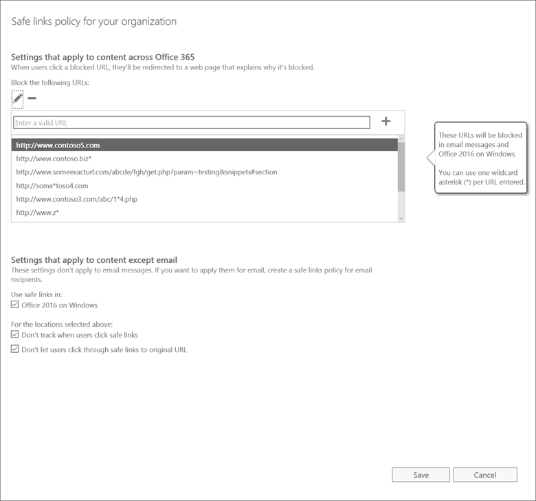 Window displaying how to enter a URL so that it is blocked across Office 365.