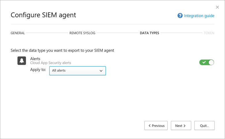 Image displaying the first Configure SIEM agent configuration window with the Alerts enabled.