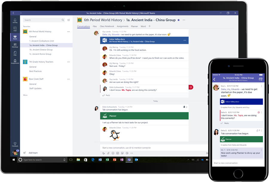 The classroom experiences in Microsoft Teams are being shown on a Windows desktop and iPhone. Specifically, the same World History project-based group conversations around an embedded Word document and Planner plan are being shown on both devices, in context with the rest of the class resources and student-led discussion.