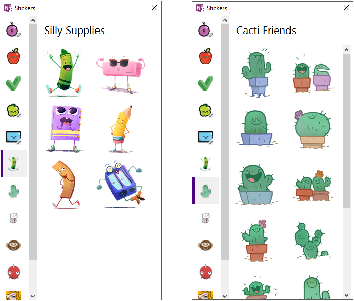 Screenshot of new sticker packs, including Silly Supplies and Cacti Friends.