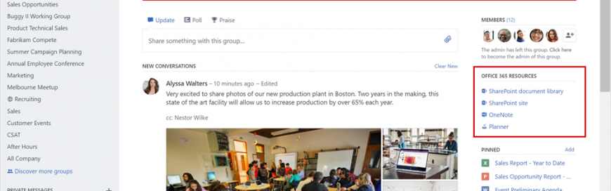 Yammer integration with Office 365 Groups now rolling out