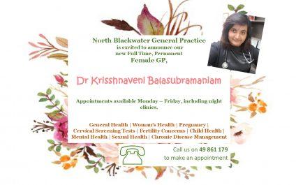 New Doctor Announcement – Dr Krisshnaveni Balasubramaniam