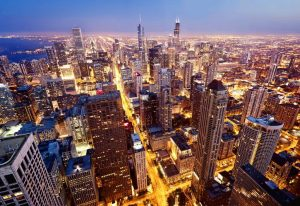 Chicago, IL arial view at night