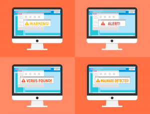 Malware attack virus warning