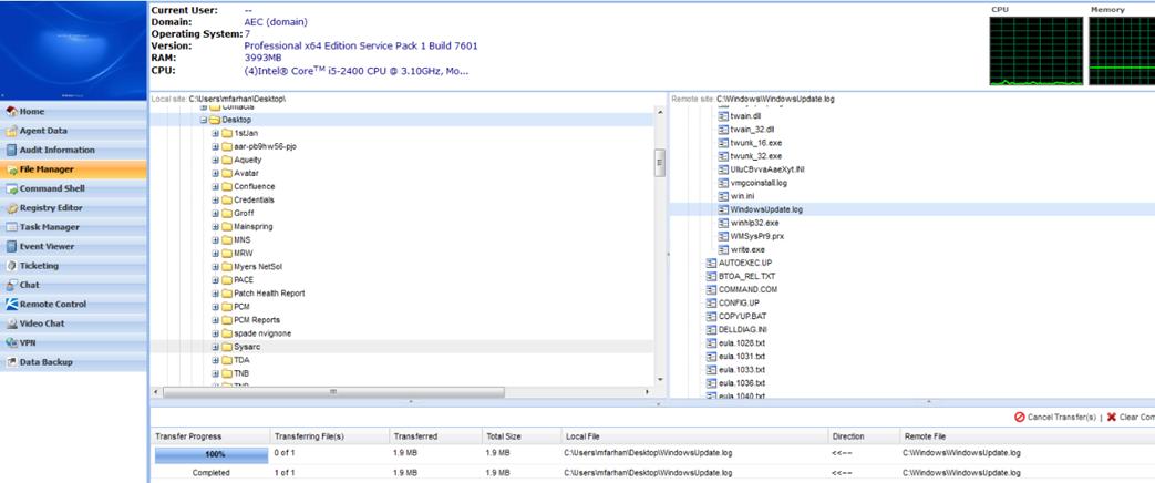 Kaseya Tip: Transferring files using File Manager in Kaseya