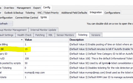 Billing Time on ConnectWise Automate Autofix Tickets