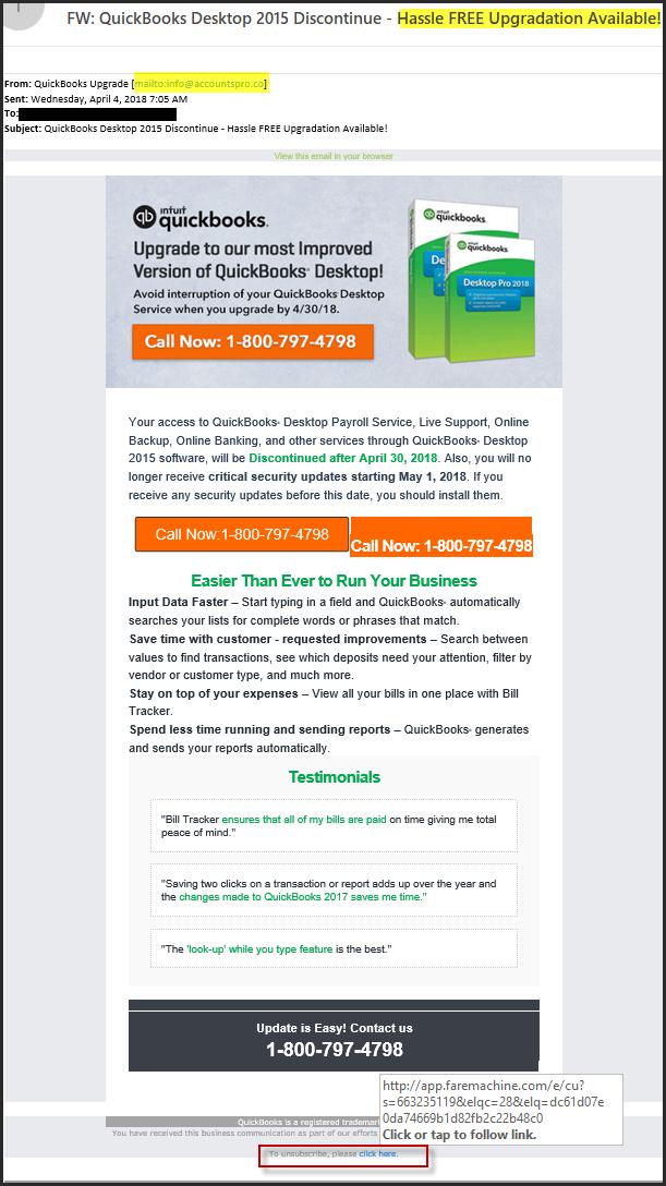 QuickBooks Upgrade Scam Email Alert! - El Dorado Hills